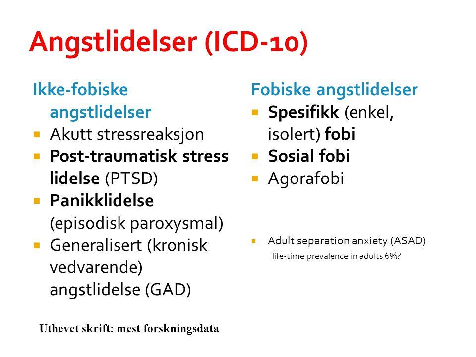 Angstlidelser (ICD-10) Ikke-fobiske angstlidelser Akutt stressreaksjon