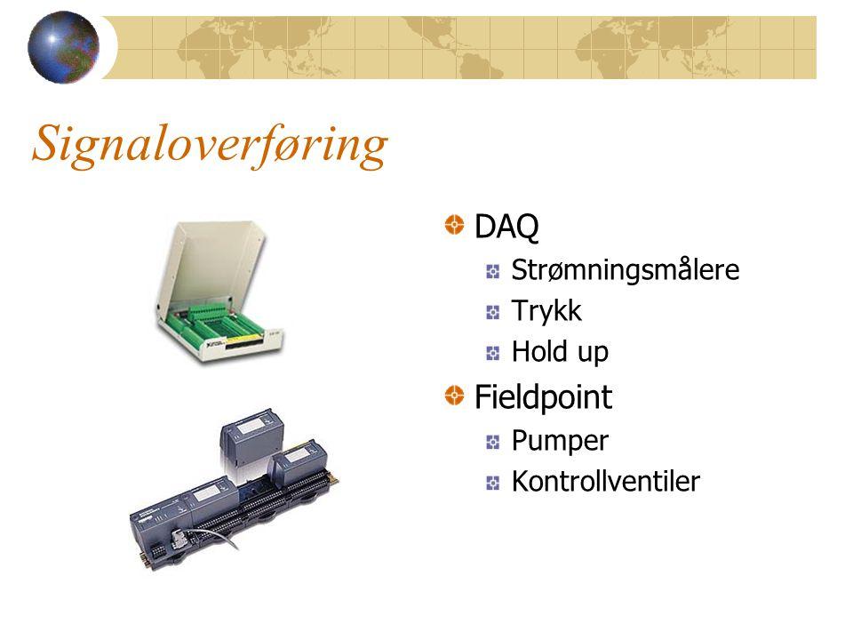 Signaloverføring DAQ Fieldpoint Strømningsmålere Trykk Hold up Pumper