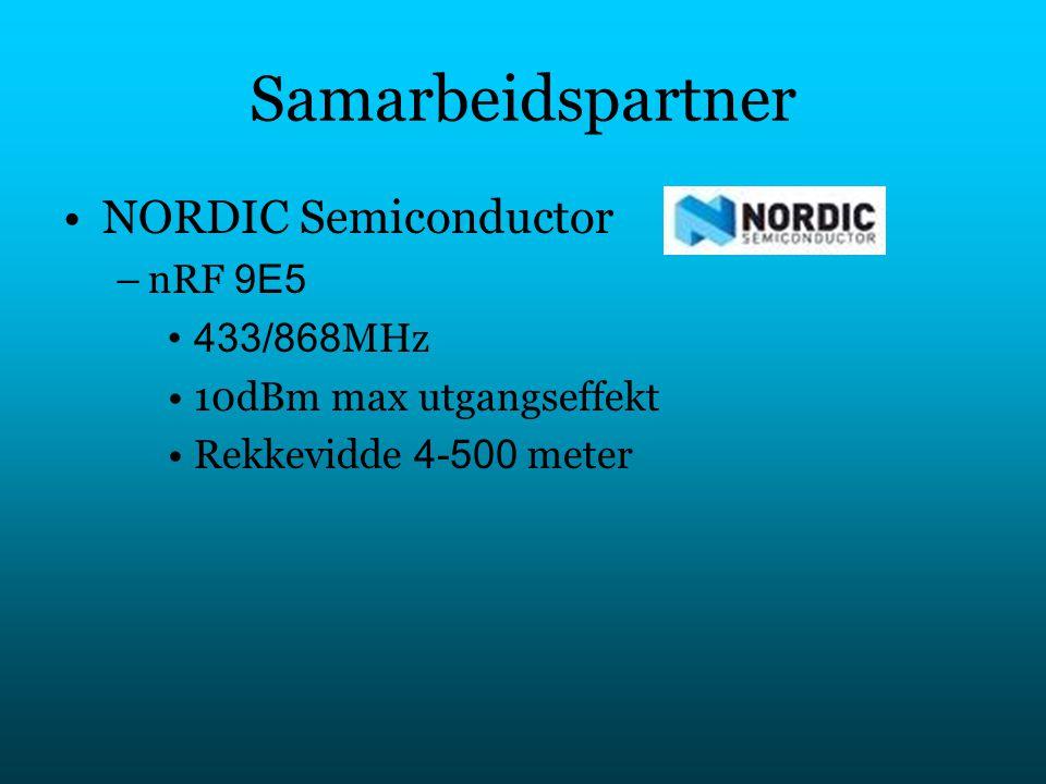 Samarbeidspartner NORDIC Semiconductor nRF 9E5 433/868MHz
