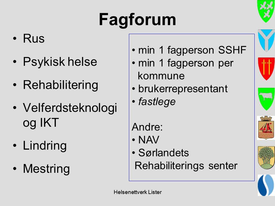 Fagforum Rus Psykisk helse Rehabilitering Velferdsteknologi og IKT