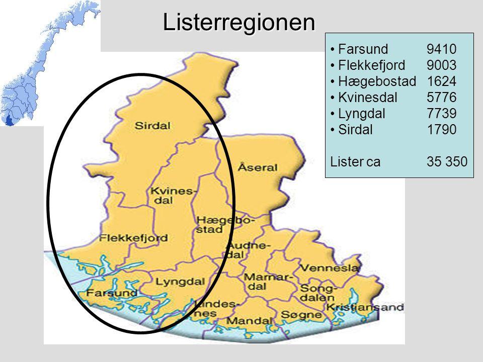 Listerregionen Farsund 9410 Flekkefjord 9003 Hægebostad 1624