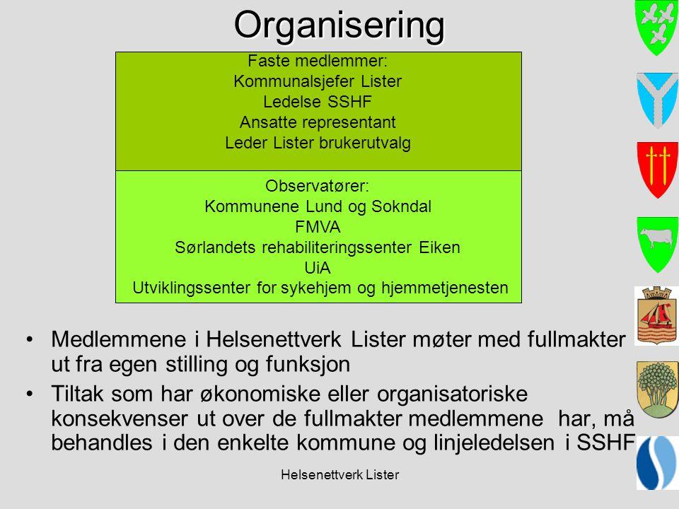 Organisering Medlemmene i Helsenettverk Lister møter med fullmakter ut fra egen stilling og funksjon.