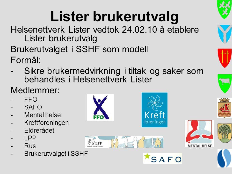 Lister brukerutvalg Helsenettverk Lister vedtok 24.02.10 å etablere Lister brukerutvalg. Brukerutvalget i SSHF som modell.