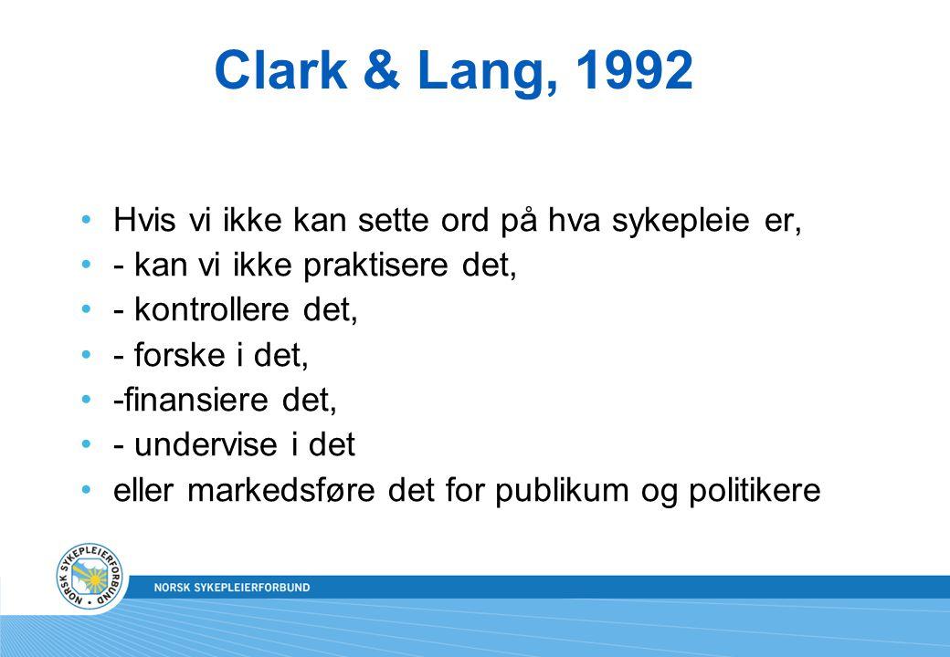 Clark & Lang, 1992 Hvis vi ikke kan sette ord på hva sykepleie er,