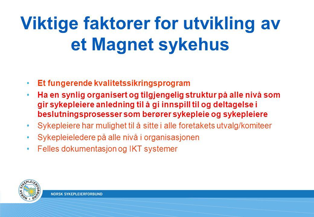 Viktige faktorer for utvikling av et Magnet sykehus