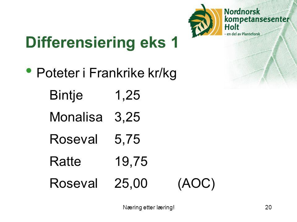 Differensiering eks 1 Poteter i Frankrike kr/kg Monalisa 3,25
