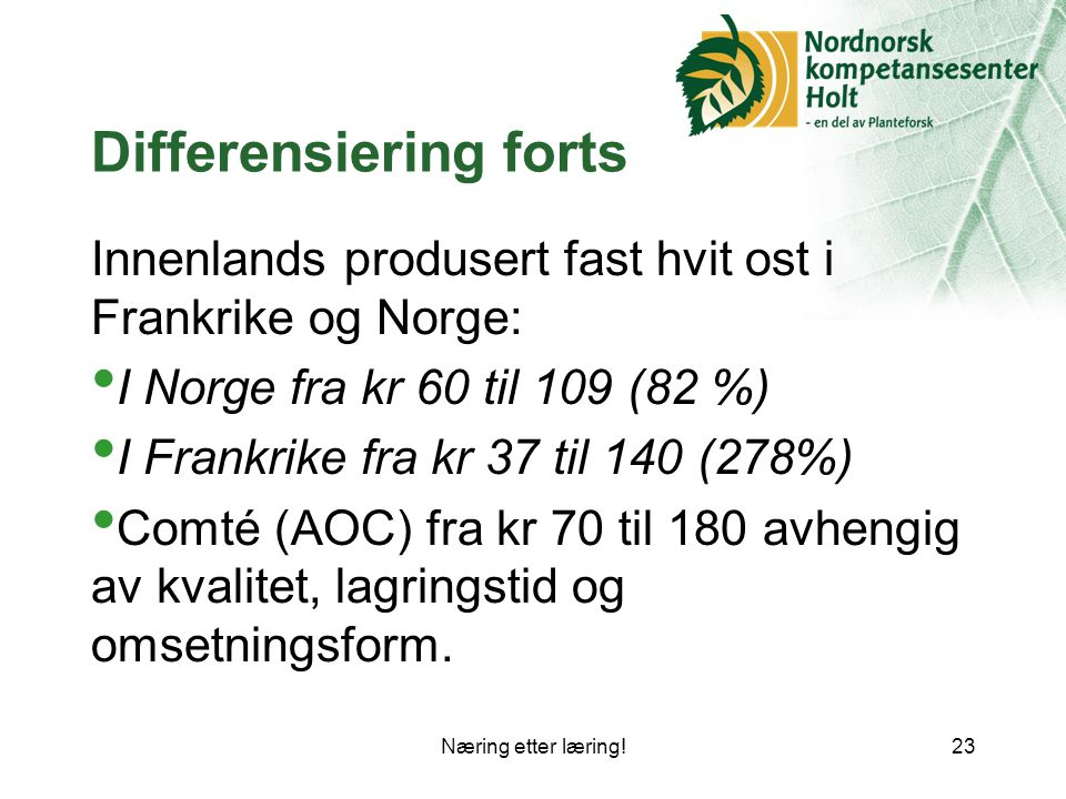 Differensiering forts
