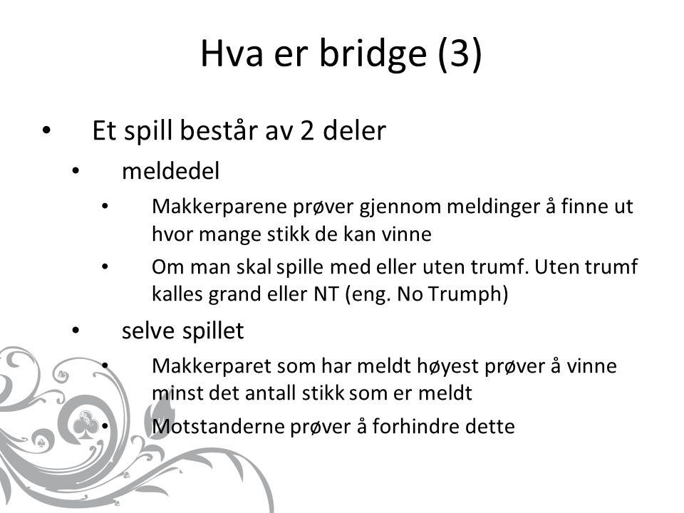 Hva er bridge (3) Et spill består av 2 deler meldedel selve spillet