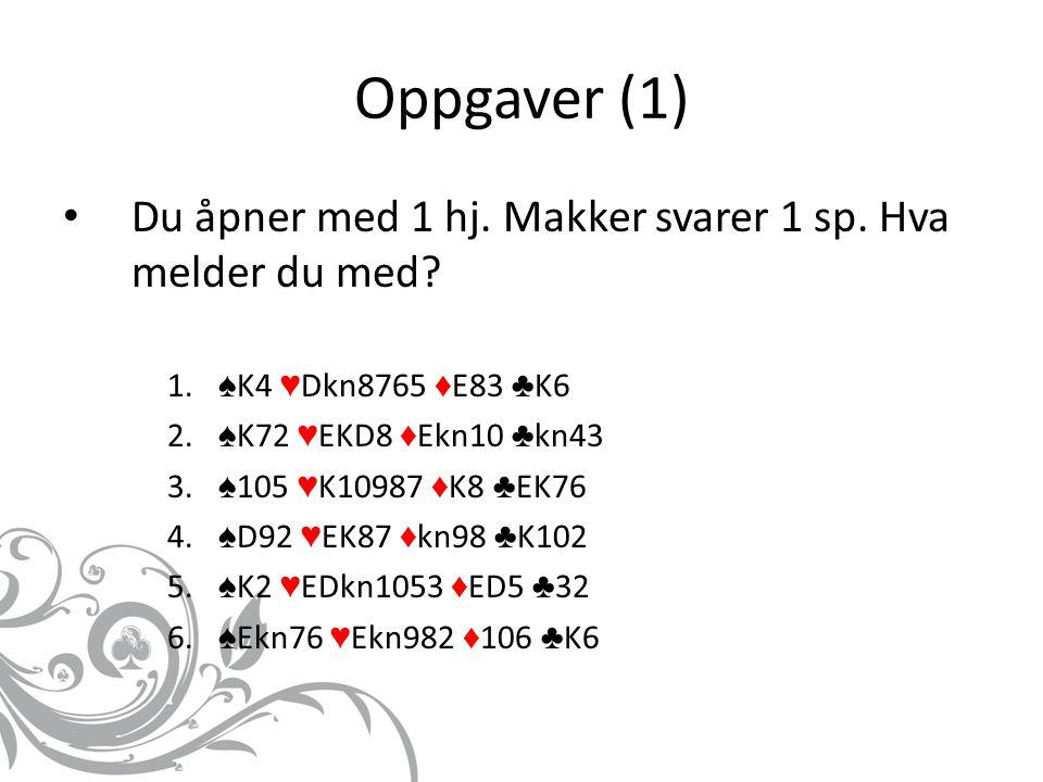 Oppgaver (1) Du åpner med 1 hj. Makker svarer 1 sp. Hva melder du med