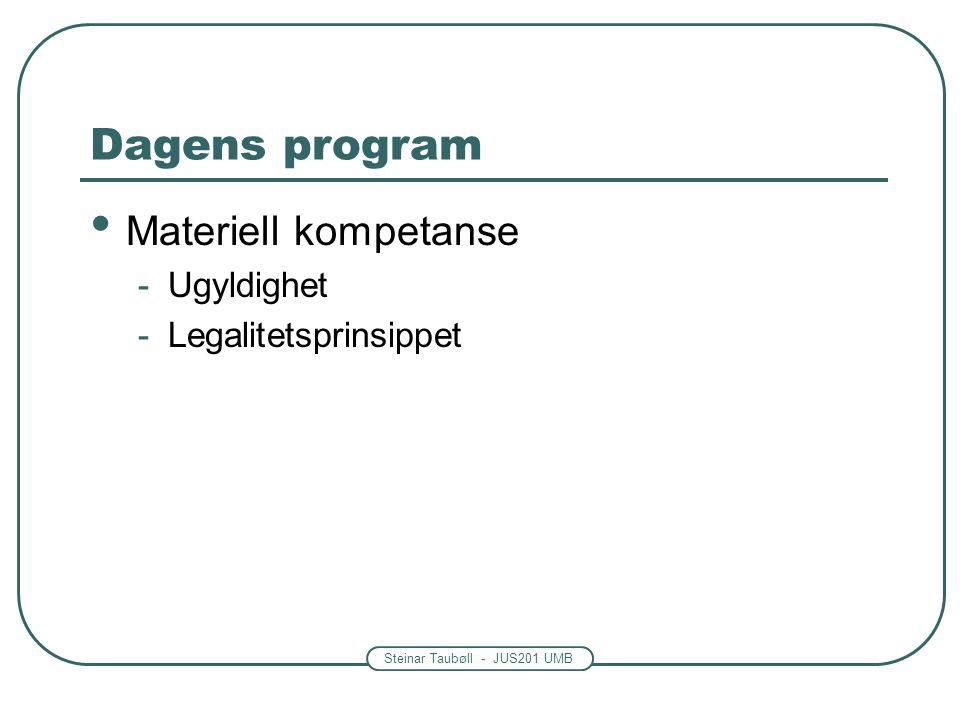 Dagens program Materiell kompetanse Ugyldighet Legalitetsprinsippet