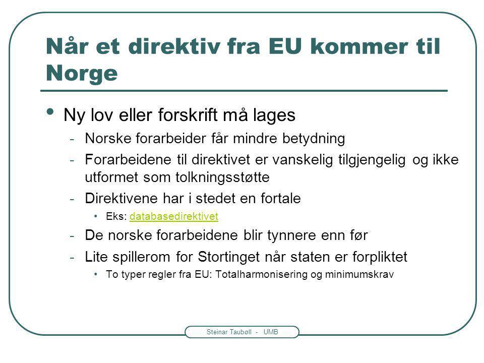 Når et direktiv fra EU kommer til Norge