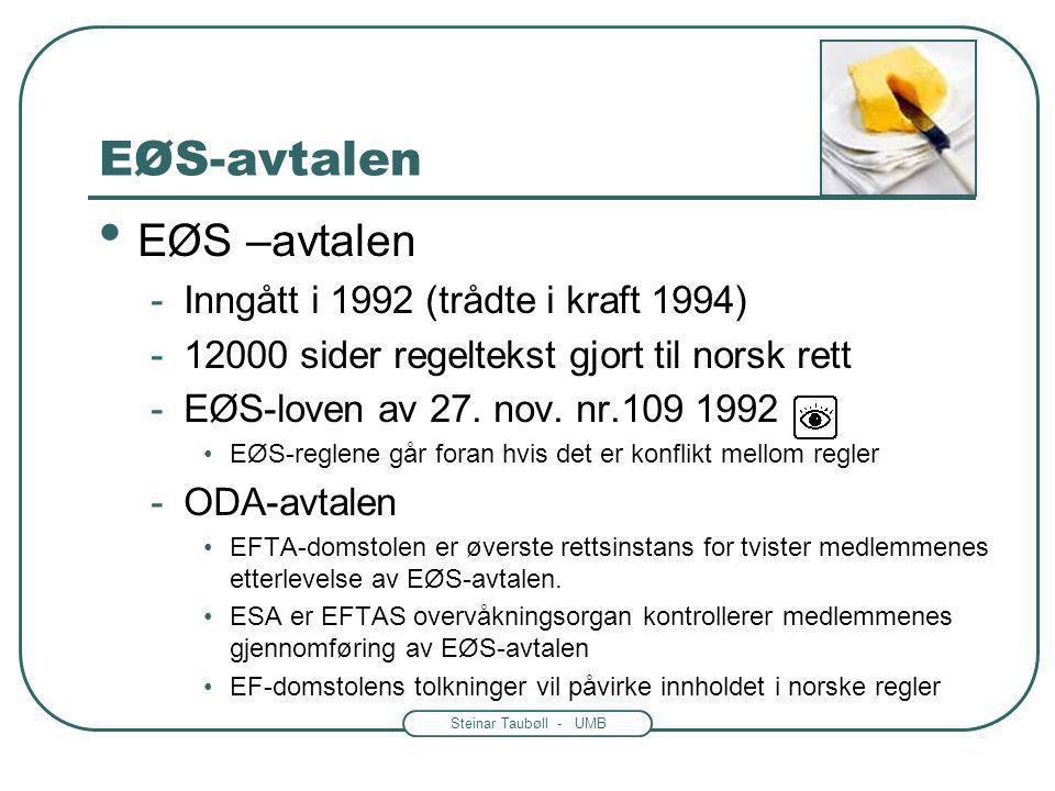 EØS-avtalen EØS –avtalen Inngått i 1992 (trådte i kraft 1994)