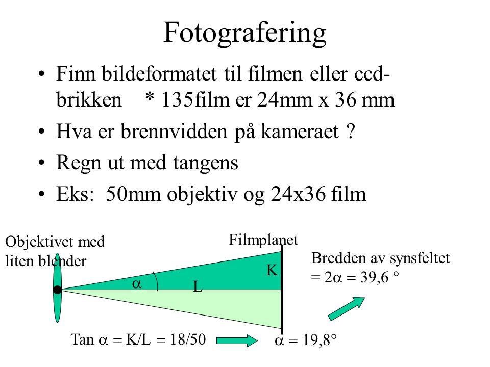 Fotografering Finn bildeformatet til filmen eller ccd-brikken * 135film er 24mm x 36 mm. Hva er brennvidden på kameraet