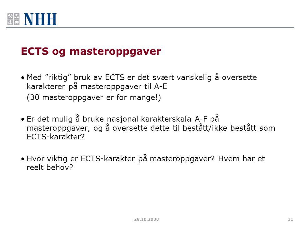 ECTS og masteroppgaver