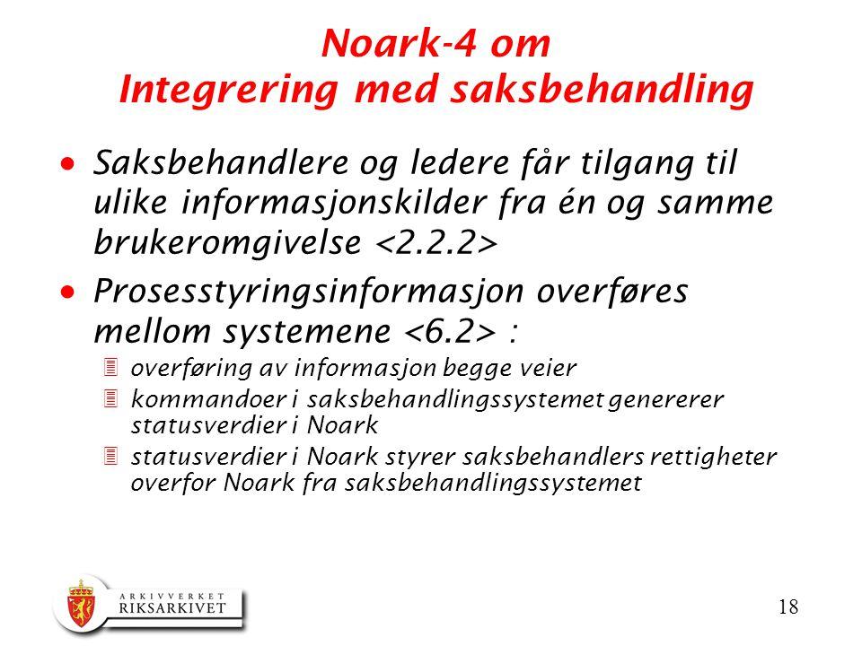Noark-4 om Integrering med saksbehandling