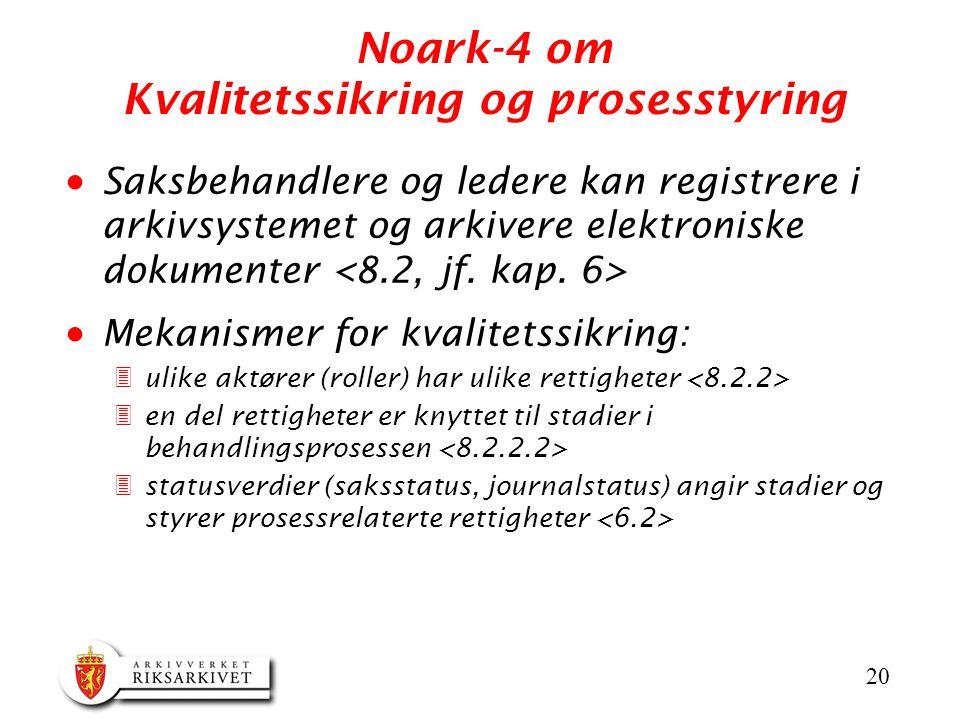 Noark-4 om Kvalitetssikring og prosesstyring
