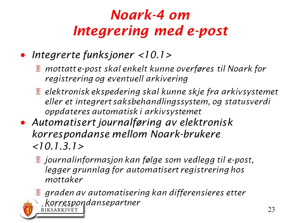 Noark-4 om Integrering med e-post
