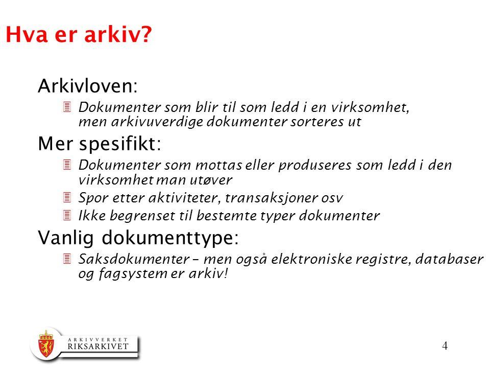Hva er arkiv Arkivloven: Mer spesifikt: Vanlig dokumenttype: