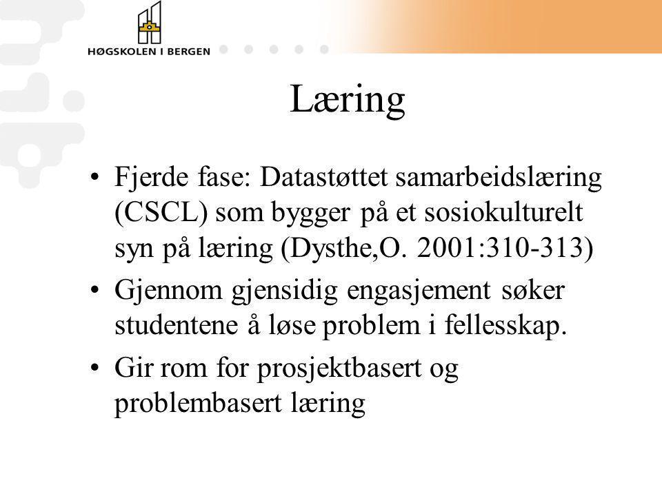 Læring Fjerde fase: Datastøttet samarbeidslæring (CSCL) som bygger på et sosiokulturelt syn på læring (Dysthe,O. 2001:310-313)