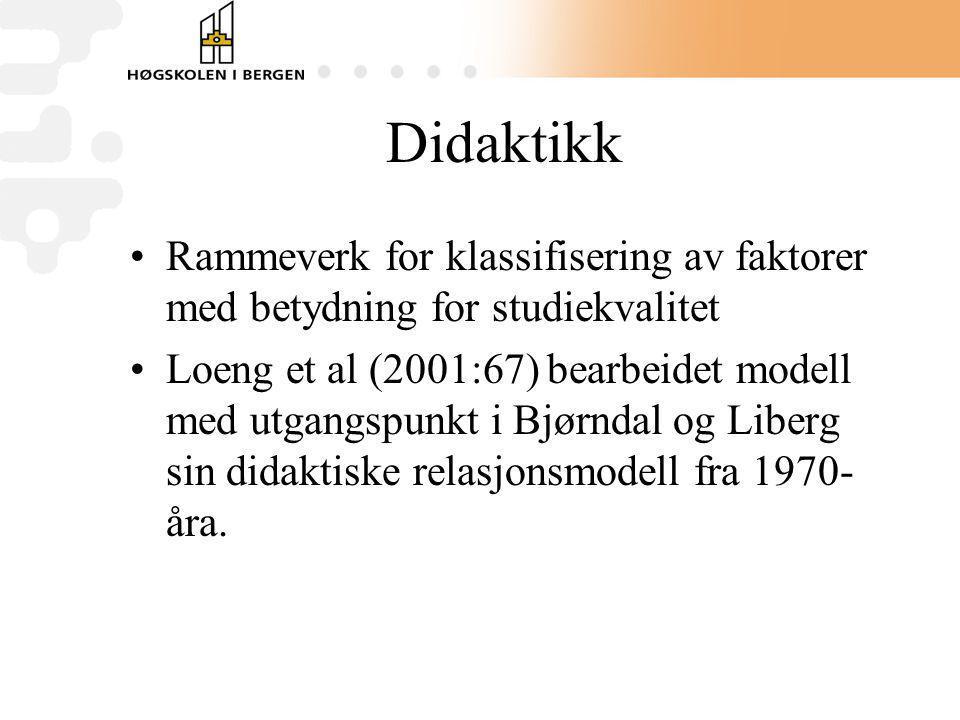 Didaktikk Rammeverk for klassifisering av faktorer med betydning for studiekvalitet.