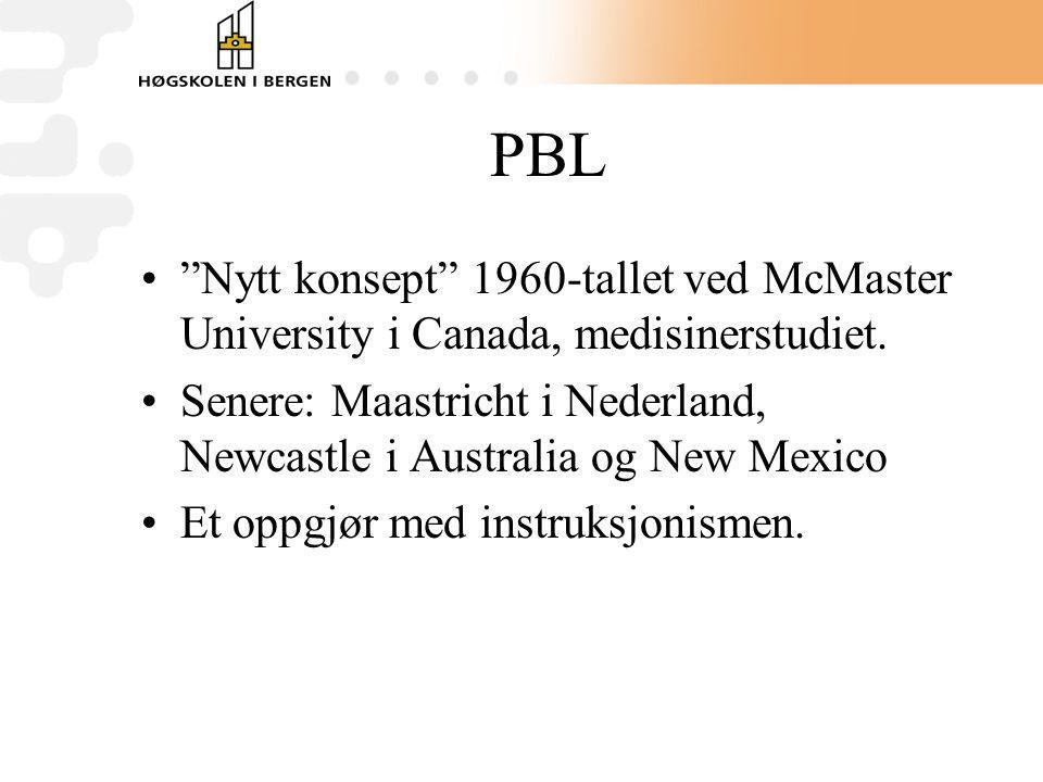 PBL Nytt konsept 1960-tallet ved McMaster University i Canada, medisinerstudiet.
