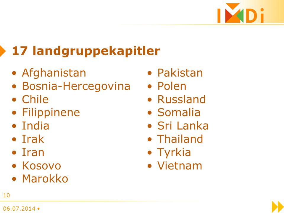 17 landgruppekapitler Afghanistan Bosnia-Hercegovina Chile Filippinene