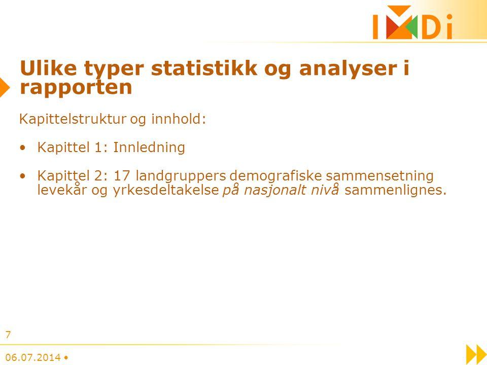 Ulike typer statistikk og analyser i rapporten