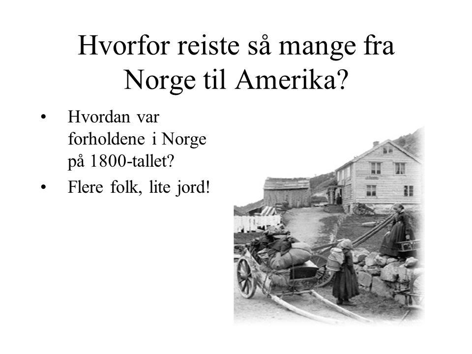 Hvorfor reiste så mange fra Norge til Amerika