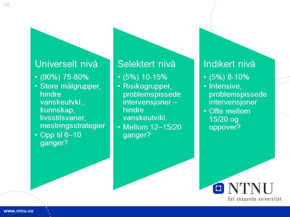 Universelt nivå Selektert nivå Indikert nivå (90%) 75-80%
