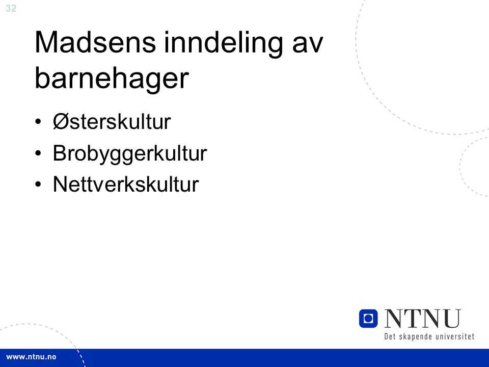 Madsens inndeling av barnehager