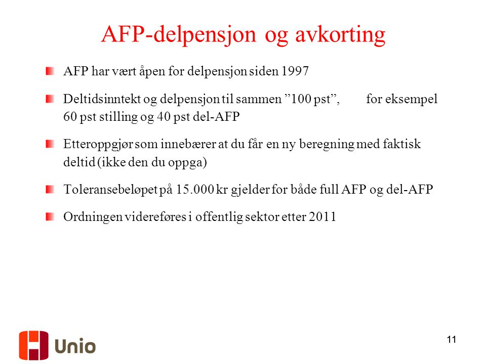 AFP-delpensjon og avkorting
