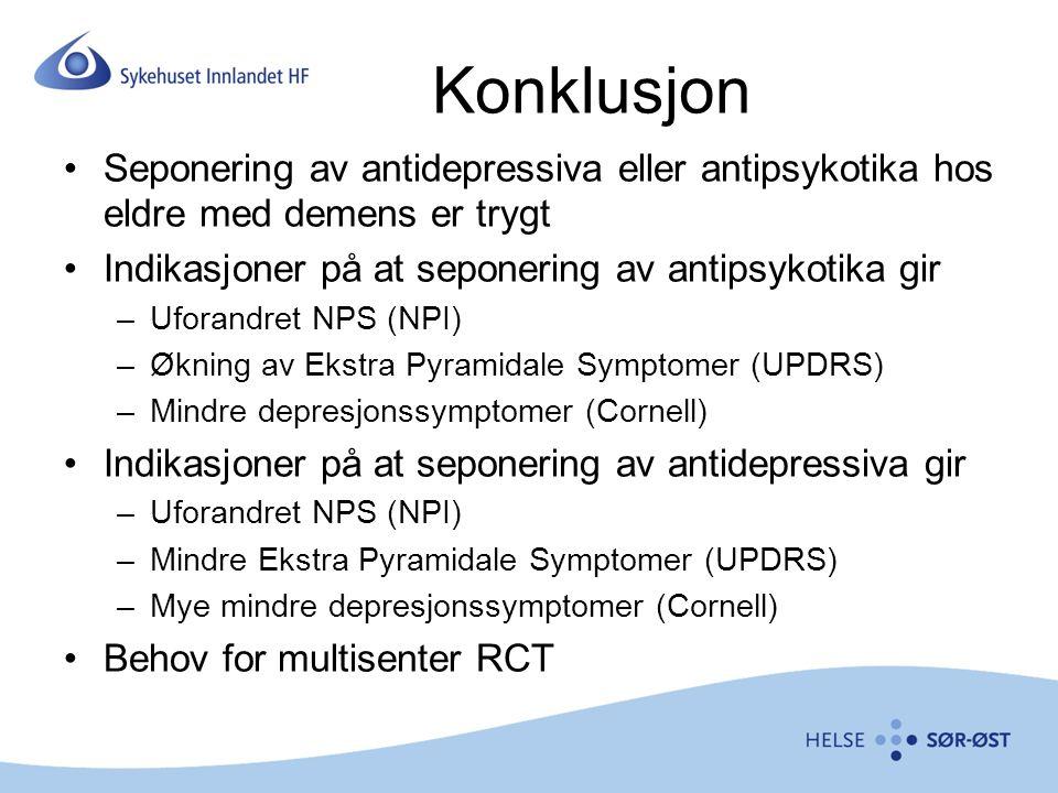 Konklusjon Seponering av antidepressiva eller antipsykotika hos eldre med demens er trygt. Indikasjoner på at seponering av antipsykotika gir.