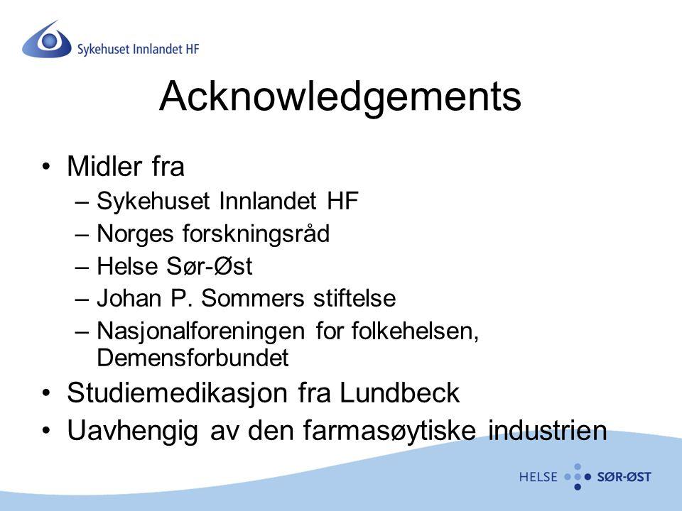 Acknowledgements Midler fra Studiemedikasjon fra Lundbeck