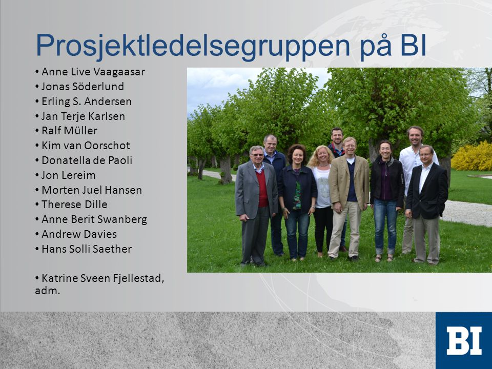 Prosjektledelsegruppen på BI