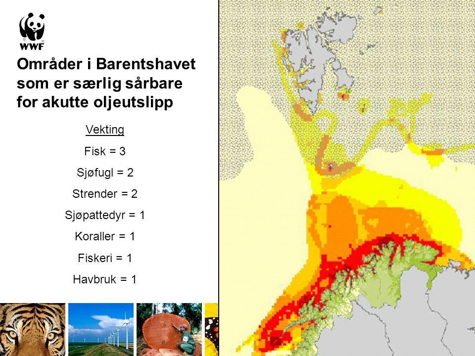 Områder i Barentshavet som er særlig sårbare for akutte oljeutslipp