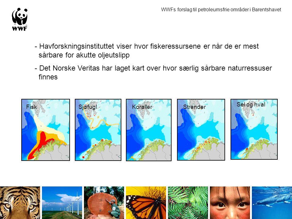 WWFs forslag til petroleumsfrie områder i Barentshavet