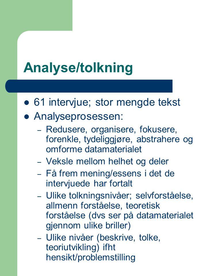 Analyse/tolkning 61 intervjue; stor mengde tekst Analyseprosessen: