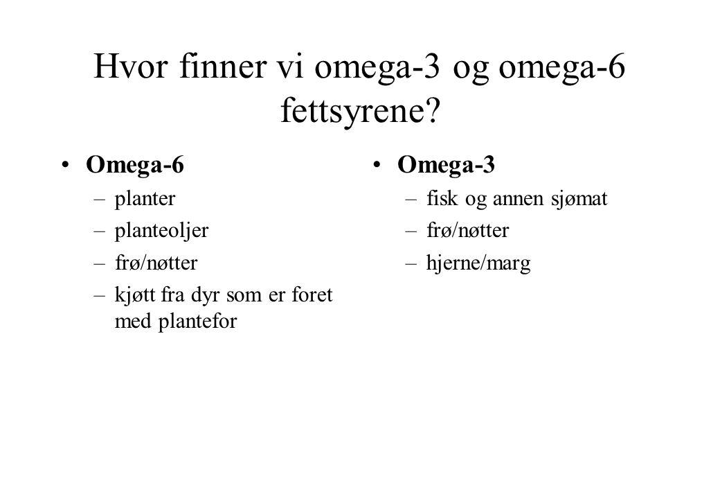 Hvor finner vi omega-3 og omega-6 fettsyrene