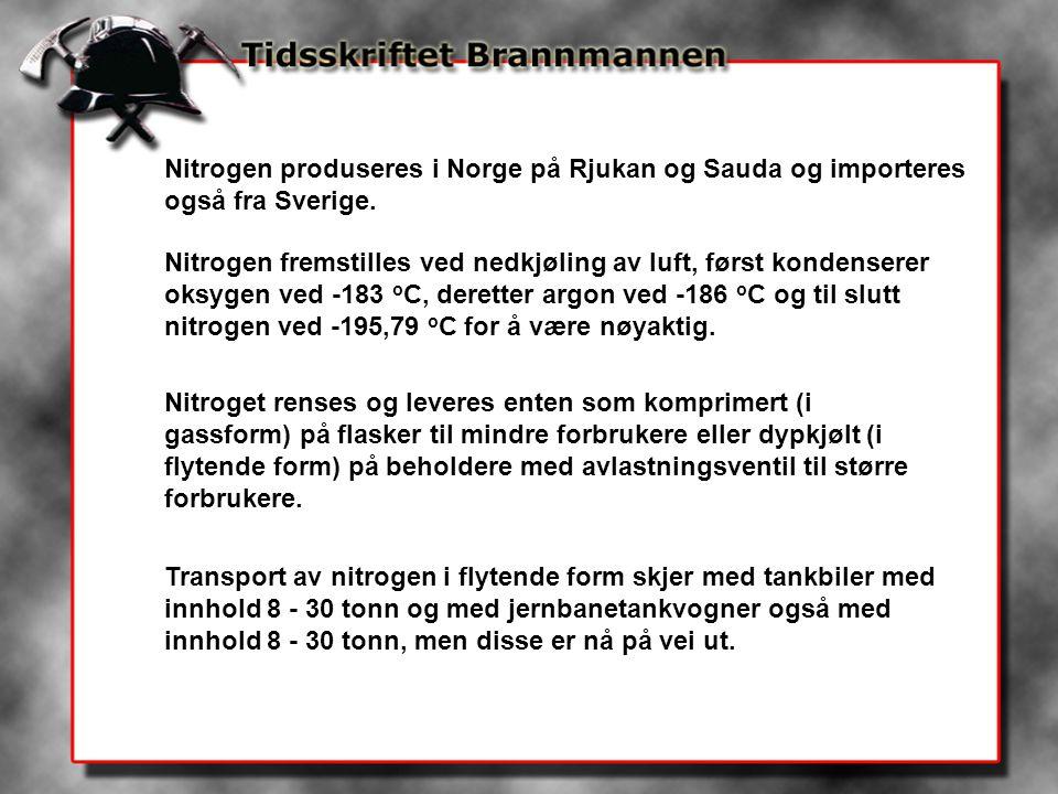 Nitrogen produseres i Norge på Rjukan og Sauda og importeres også fra Sverige.