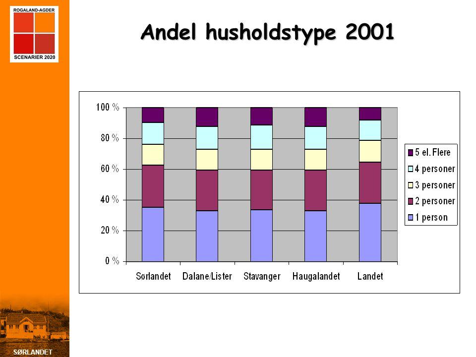 Andel husholdstype 2001