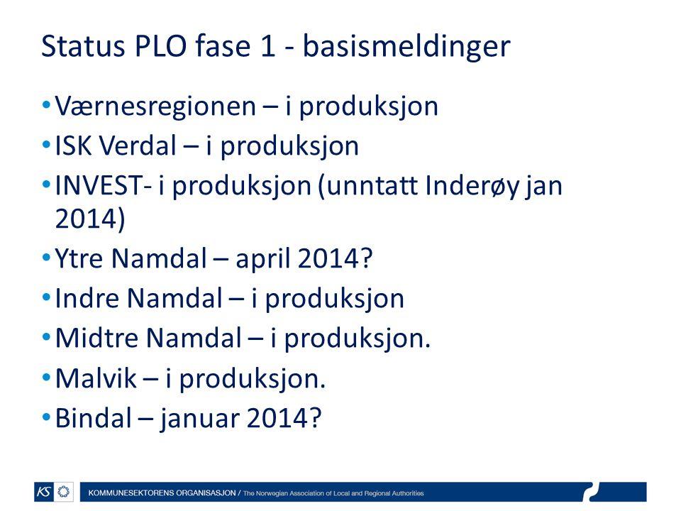 Status PLO fase 1 - basismeldinger
