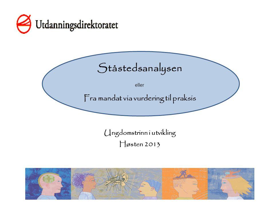 Ståstedsanalysen eller Fra mandat via vurdering til praksis Ungdomstrinn i utvikling Høsten 2013