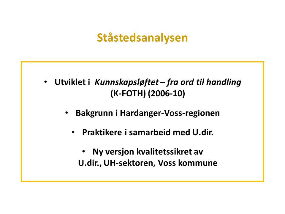 Ståstedsanalysen Utviklet i Kunnskapsløftet – fra ord til handling (K-FOTH) (2006-10)