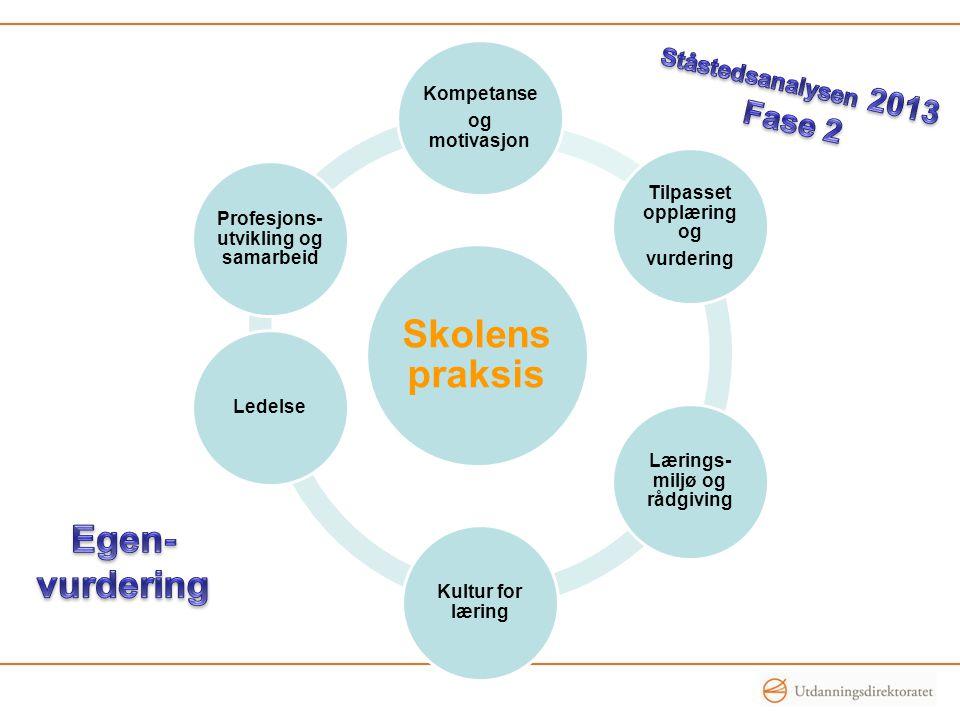 Skolens praksis Egen- vurdering Fase 2 Ståstedsanalysen 2013