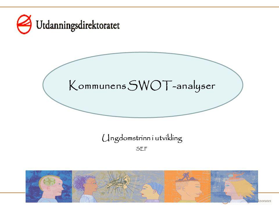 Kommunens SWOT-analyser Ungdomstrinn i utvikling SEF