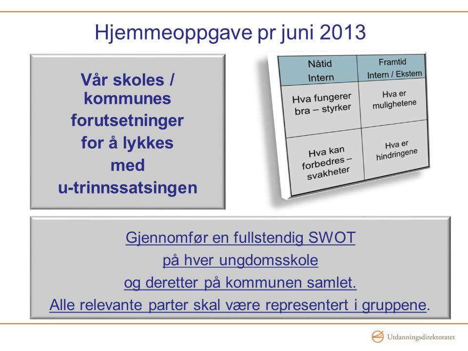 Hjemmeoppgave pr juni 2013 Vår skoles / kommunes forutsetninger for å lykkes med u-trinnssatsingen