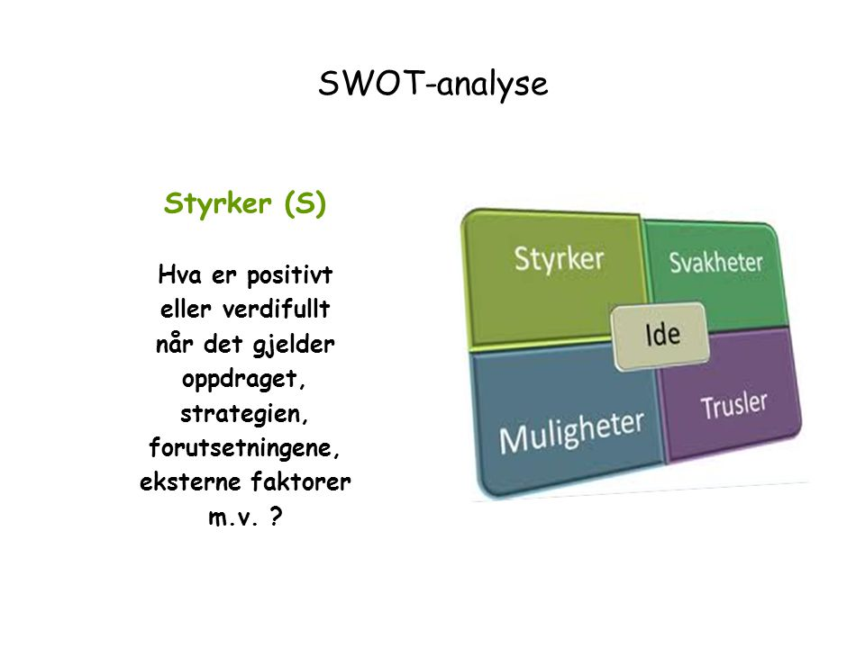 SWOT-analyse Styrker (S) Hva er positivt eller verdifullt