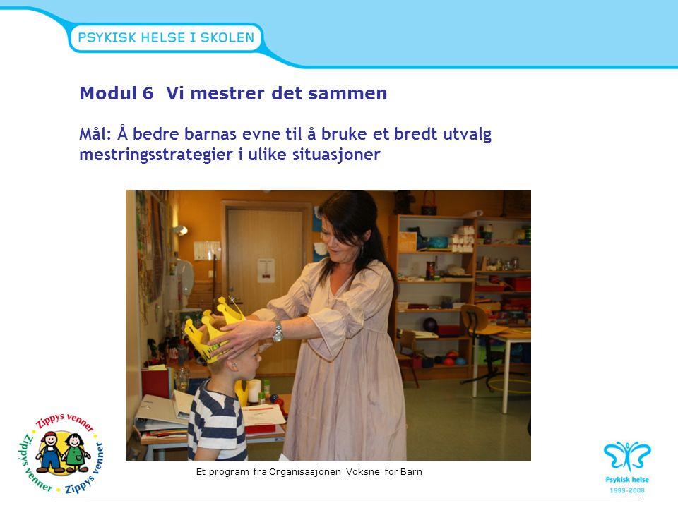 Modul 6 Vi mestrer det sammen Mål: Å bedre barnas evne til å bruke et bredt utvalg mestringsstrategier i ulike situasjoner