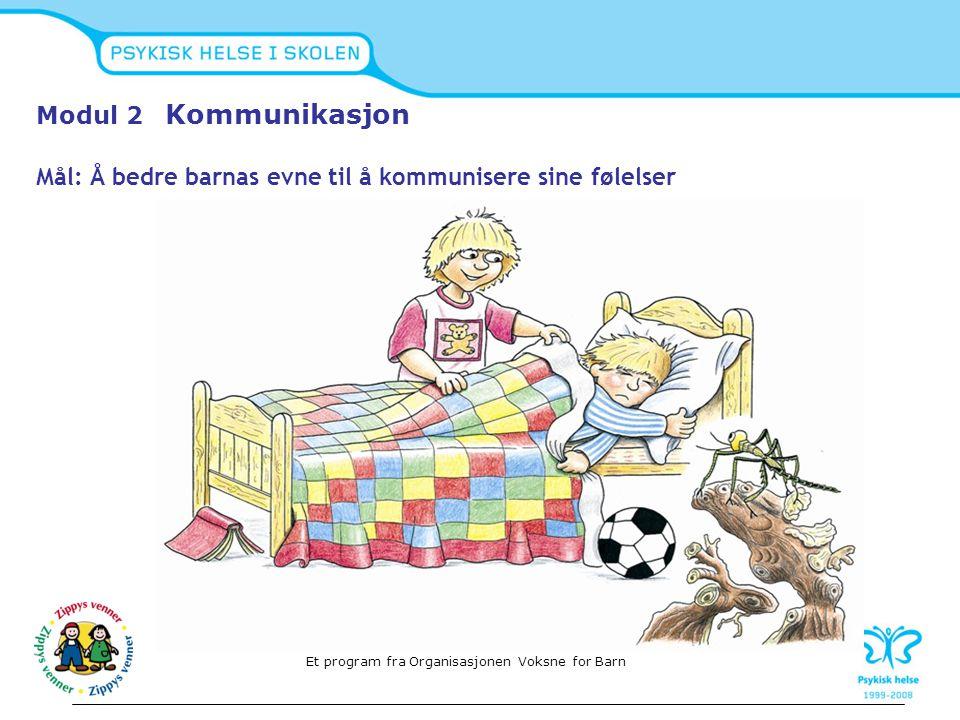 Modul 2 Kommunikasjon Mål: Å bedre barnas evne til å kommunisere sine følelser