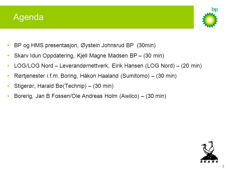 Agenda BP og HMS presentasjon, Øystein Johnsrud BP (30min)